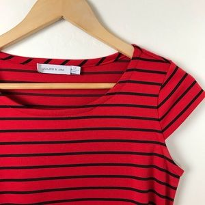 Dresses - Jules and Jim Maternity Red Striped Dress
